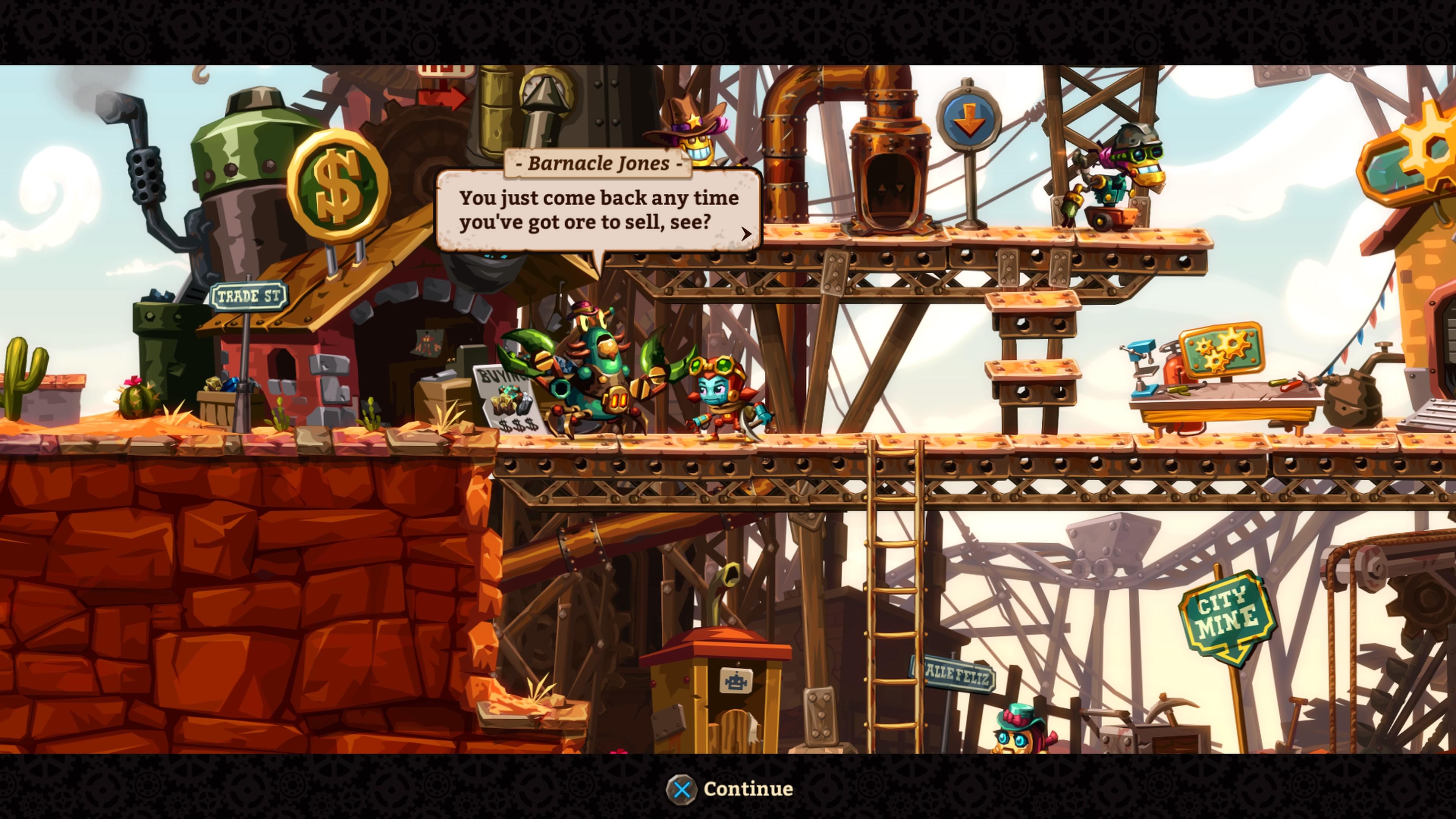 SteamWorld Dig 2 myymässä malmia kylässä