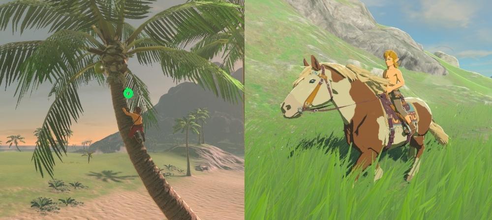 The Legend of Zelda Breath of the Wild palmu ja paidaton hevonen