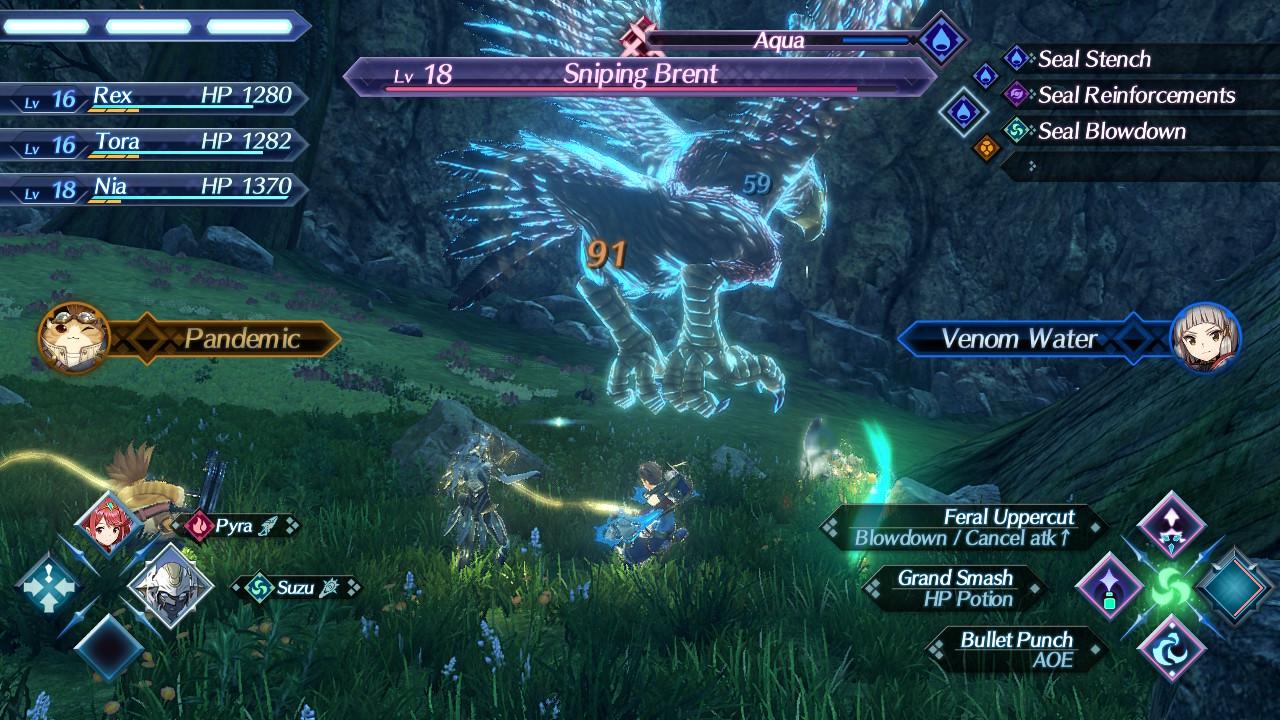 Xenoblade Chronicles 2 taistelu jättikotkaa vastaan