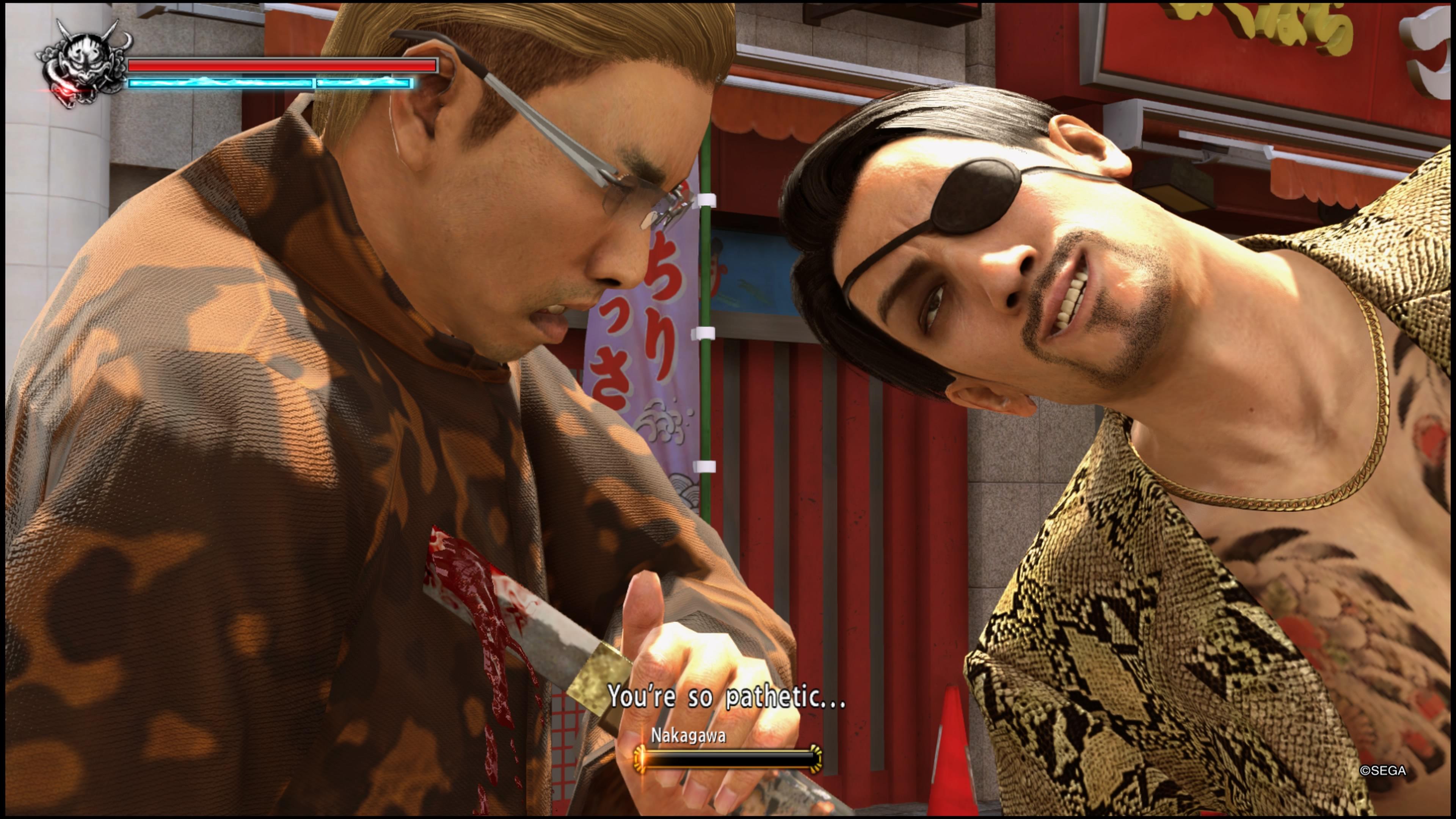 YAKUZA KIWAMI 2 Majima Goro satuttaa veitsellä ja haukuillaan