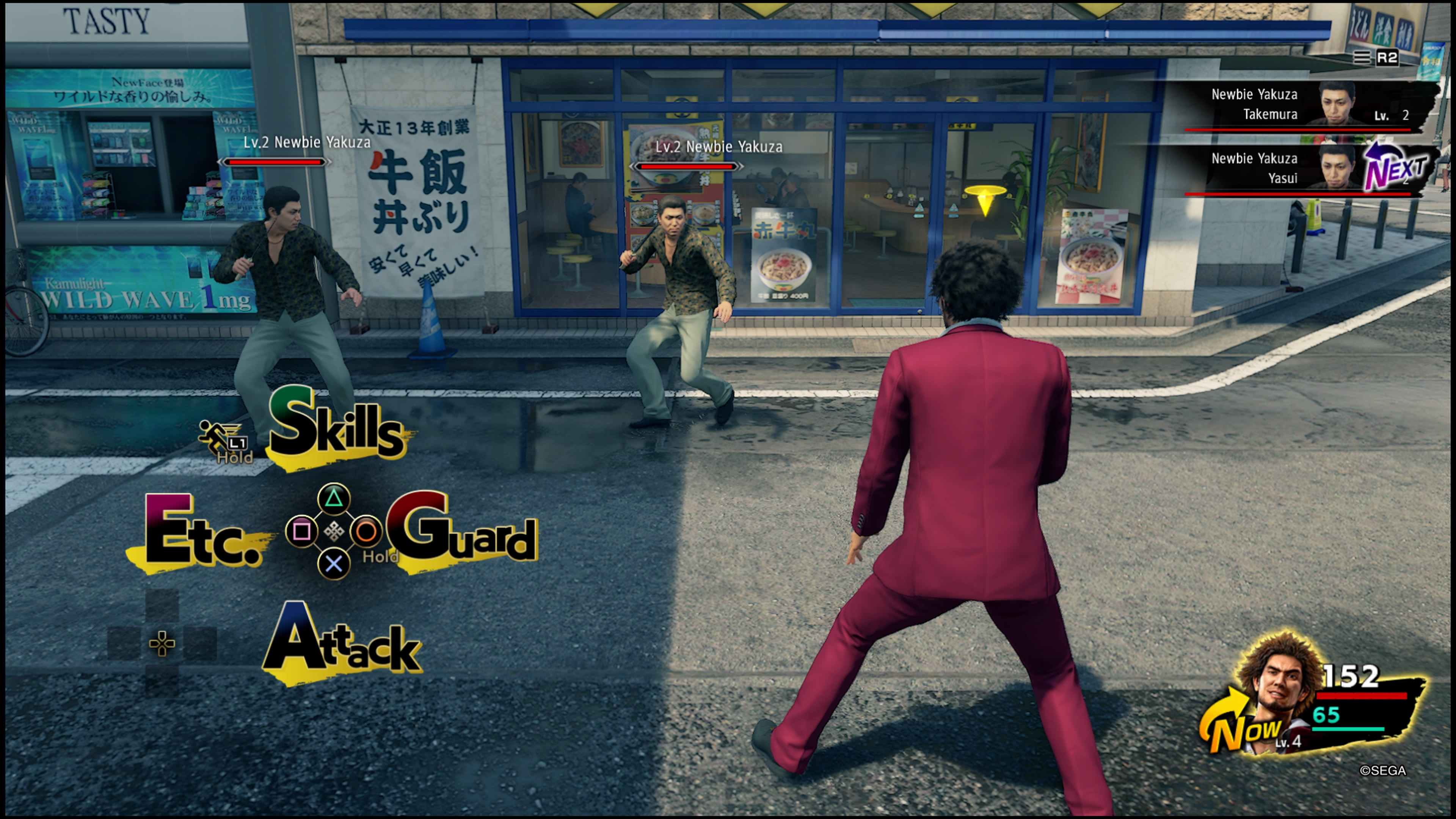 Yakuza: Like A Dragon taistelua kadulla osa yksi