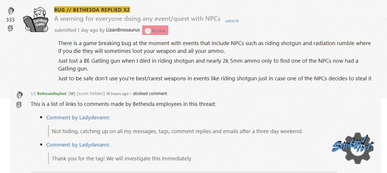 Fallout 76 NPC bugi