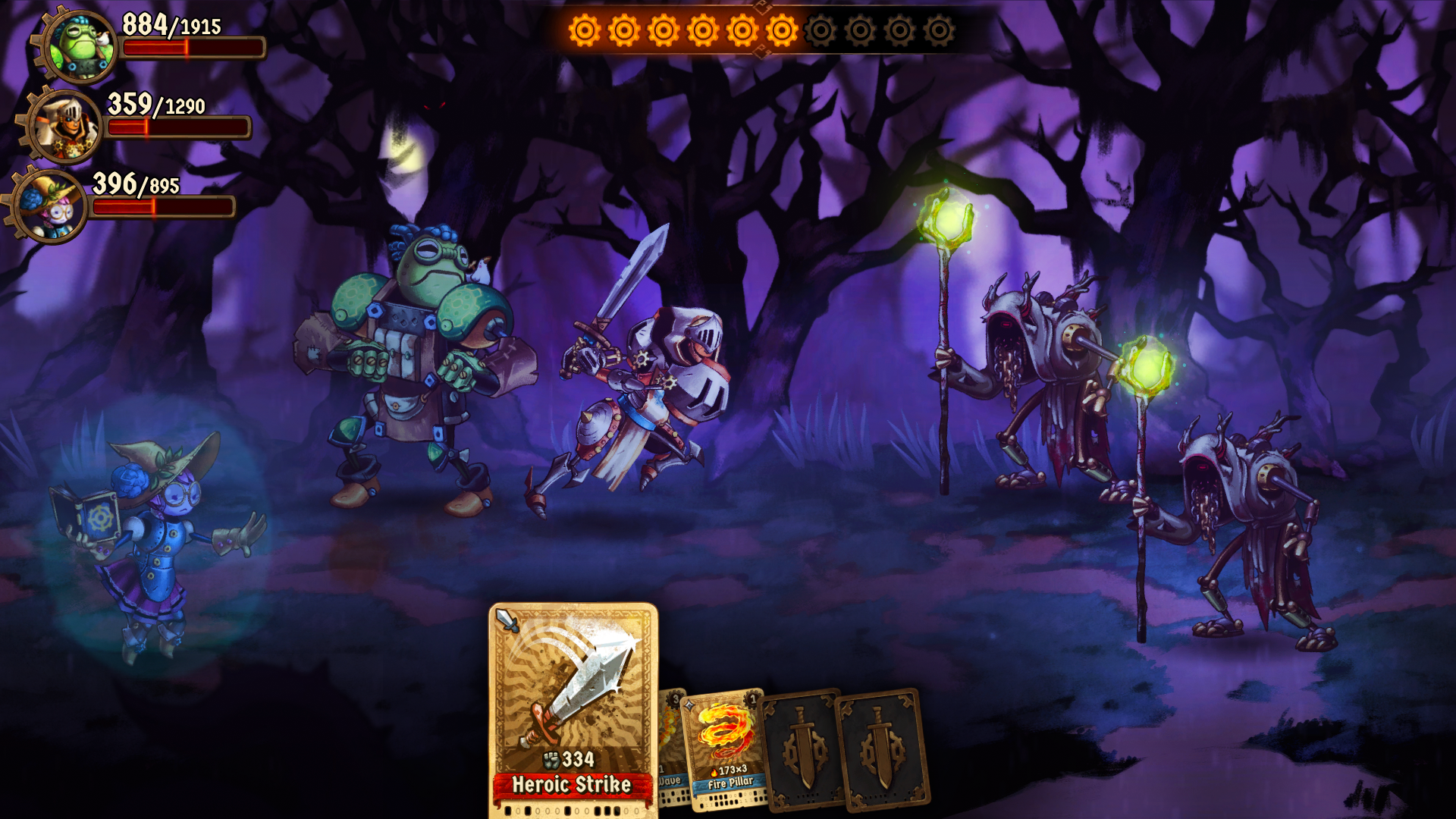 SteamWorld Quest taistelu hämärässä