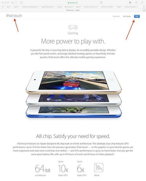 iPod touch patenttihakemuksen kuva