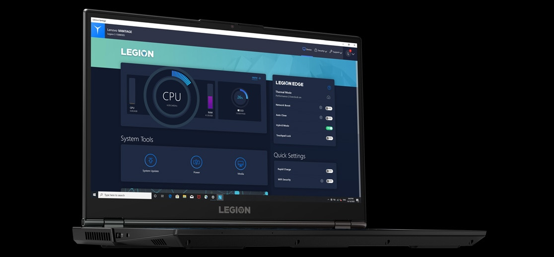 Lenovo Legion 5i -pelikannettava ja Lenovo Vantage -softa