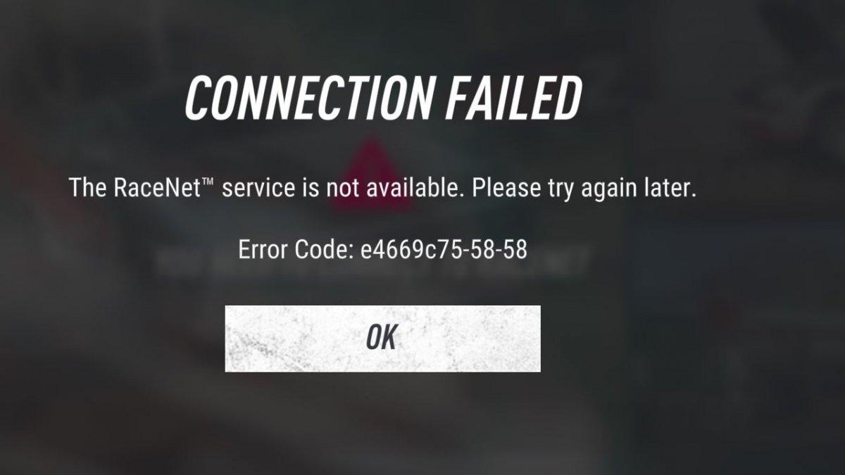 Racenet: Connection failed