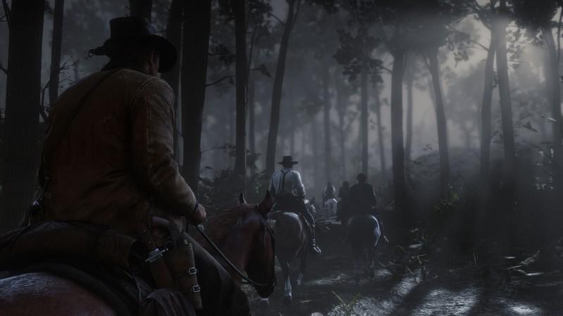 Red Dead Redemption 2 pimeällä hevosajelulla koko sakki