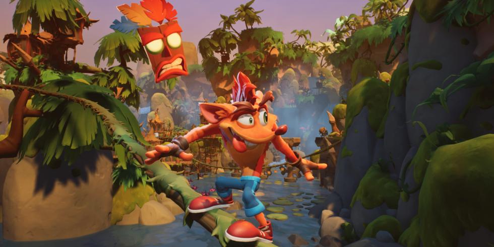 Crash Bandicoot 4: It's About Time tasoloikkaa kieli ulkona