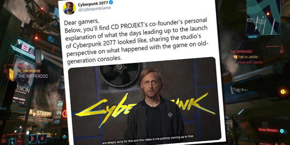 Kuvakaappaus Cyberpunk 2077:n Twitter-tililtä