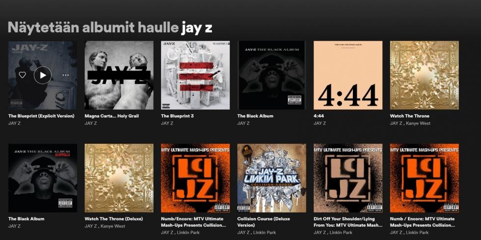 Jay Z albumit Spotify