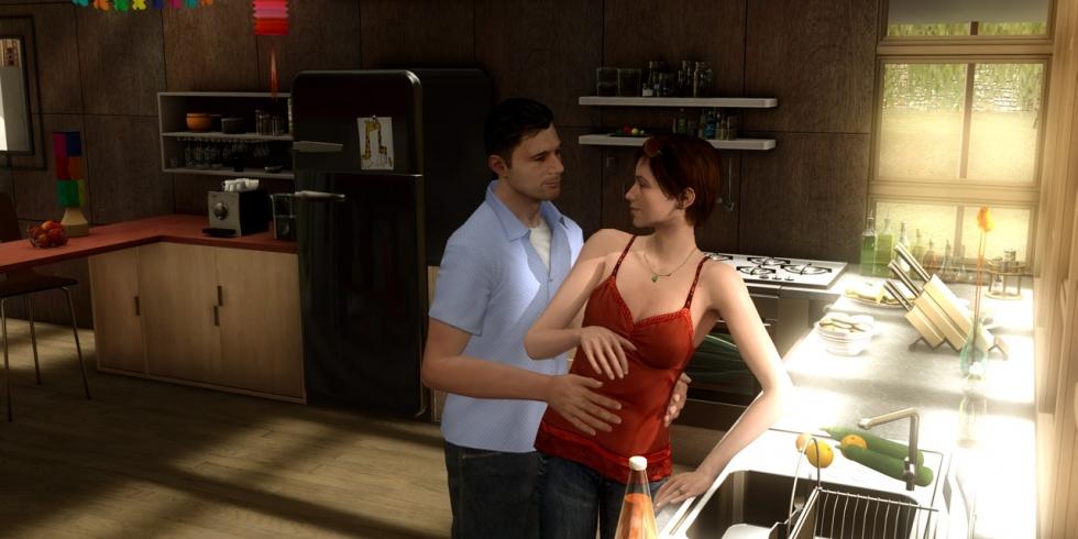 Ethan Mars vaimonsa kanssa kun ajat olivat vielä onnellisia