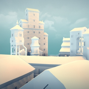 Townscaper valkea ulkoasu