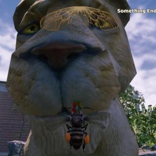 Oletpas kiltin näköinen leijona! Tilanne muuttui suuresti, kun tuikkasin pistimellä...