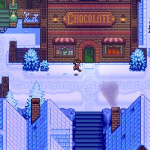 ConcernedApe's Haunted Chocolatier luminen kylä