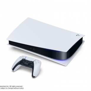 PS5 PlayStation 5 konsoli digital edition ja DualSense-ohjain vaakatasossa.jpg