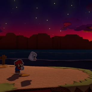 Paper Mario Colour Splash synkkä maisema