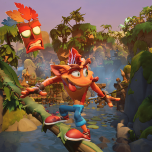 Crash Bandicoot 4: It's About Time tasoloikkaa kieli ulkona