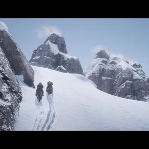 Red Dead Redemption 2 - Kaksi ratsastajaa lumisella vuorenrinteellä