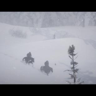 Red Dead Redemption 2 - Kaksi ratsumiestä kevyessä lumisateessa