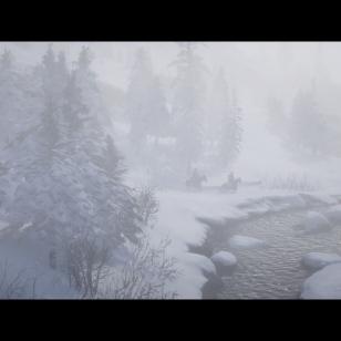 Red Dead Redemption 2 - Kaksi ratsastajaa, lumisadetta ja joenmutka