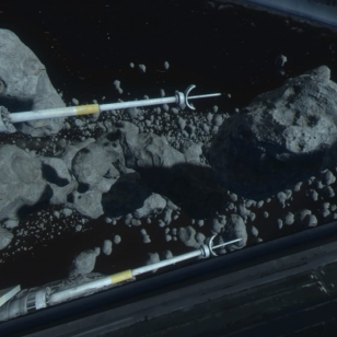 Sivuikkunanäkymä asteroidiverhossa.