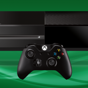 Xbox One ja ohjain vihreällä pohjalla