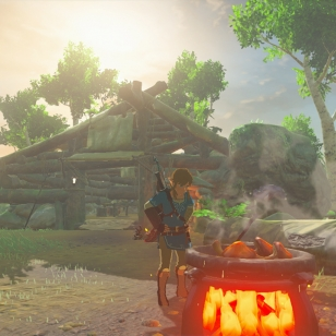 The Legend of Zelda: Breath of the Wild Link tekee ruokaa
