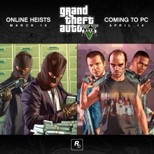Grand Theft Auto V:n ryöstötehtävät tulossa maaliskuussa
