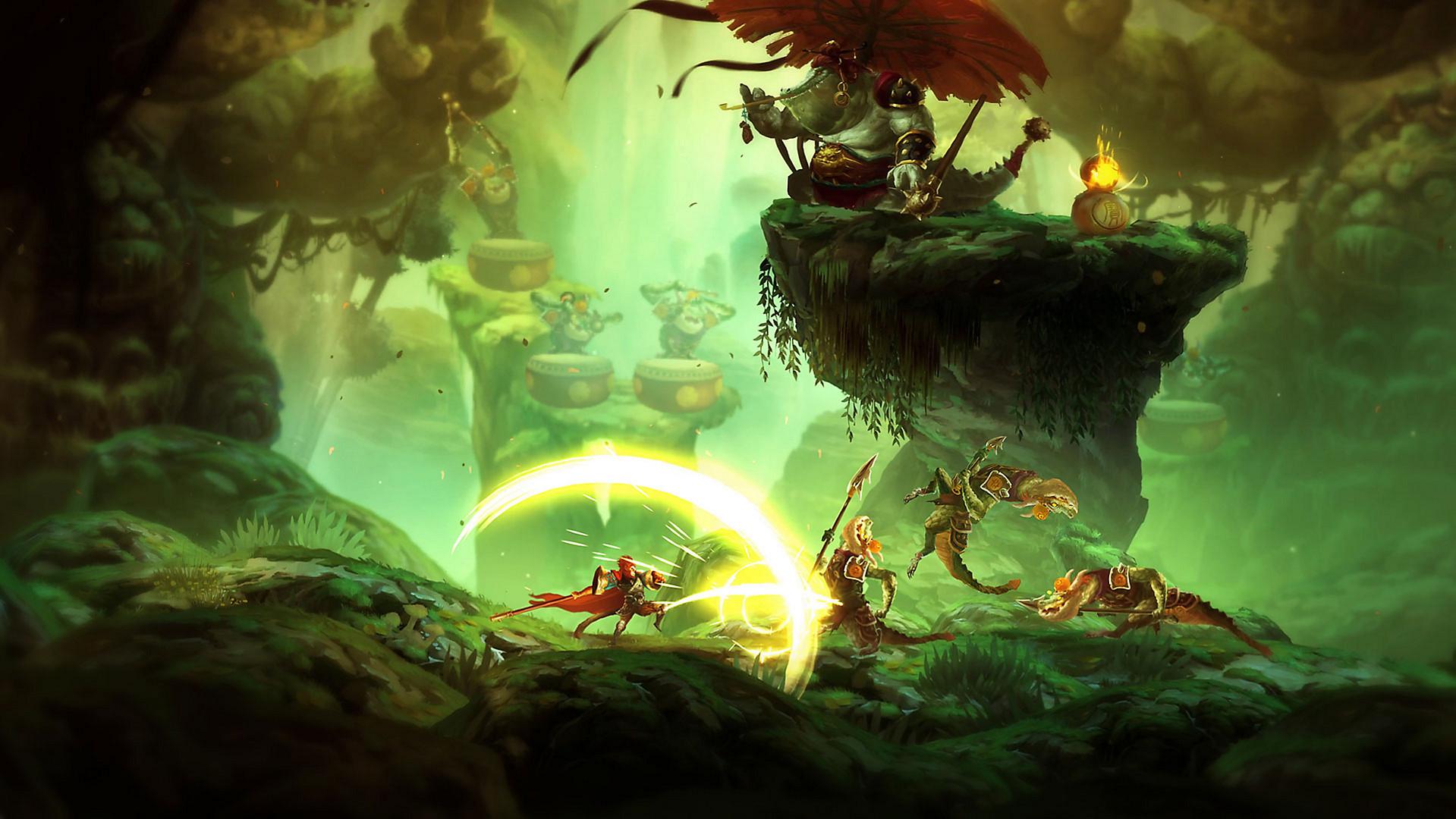 Unruly Heroes tappelua vihreässä