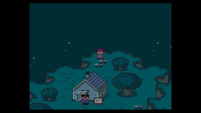 Earthbound SNES Onett pimeä maisema